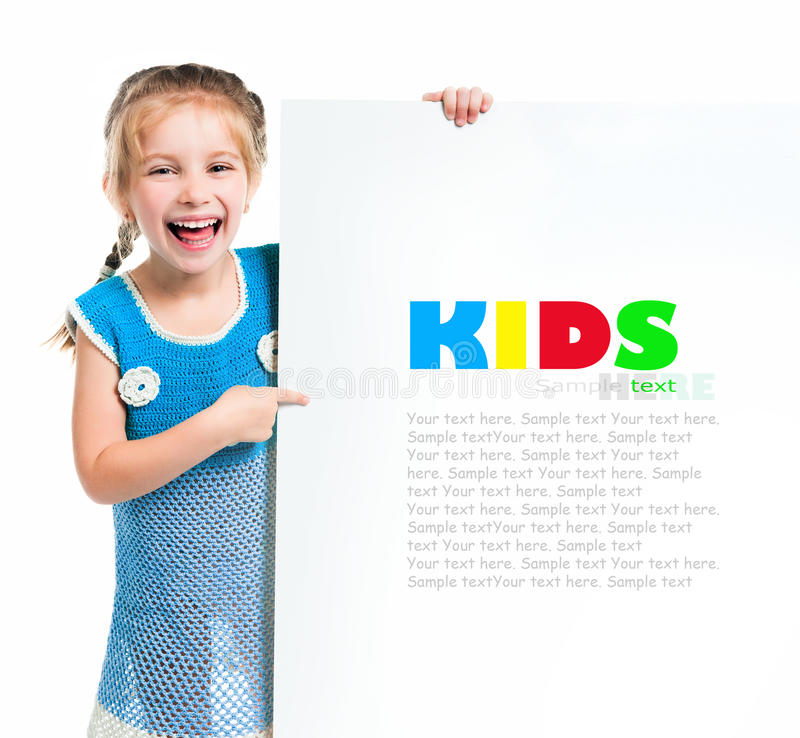 Child behind a board royalty free stock photo