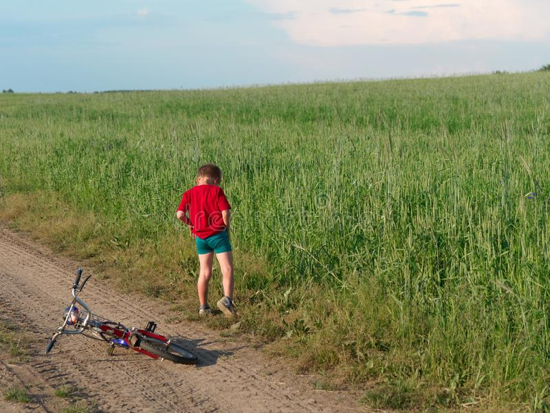 A child on a bicycle. beautiful white clouds in the sky float above the field. 5 royalty free stock photos