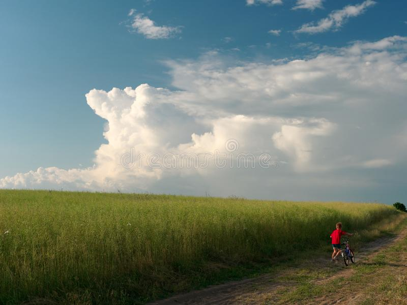 A child on a bicycle. beautiful white clouds in the sky float above the field. 5 stock image