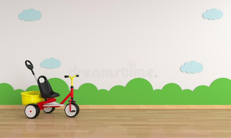 Child bicycle in white room for mockup, 3D rendering vector illustration