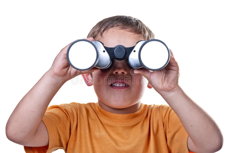 Child with binoculars royalty free stock photography