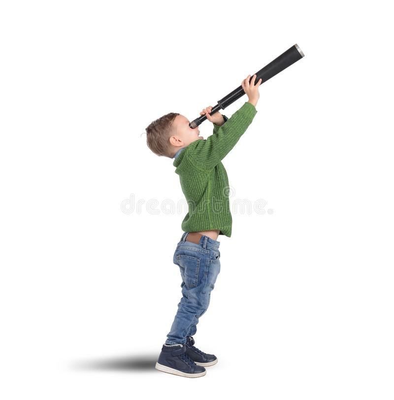 Child with binoculars stock images