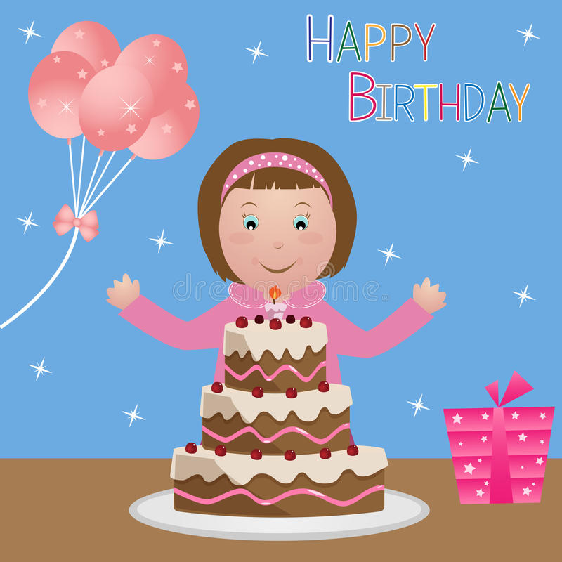 Child With Birthday Cake Girl Stock Vector Illustration of