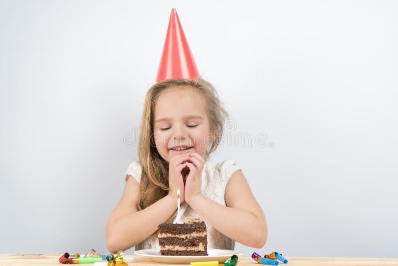 Child birthday. cake. holiday birthday cards. Make a wish on your birthday royalty free stock photography