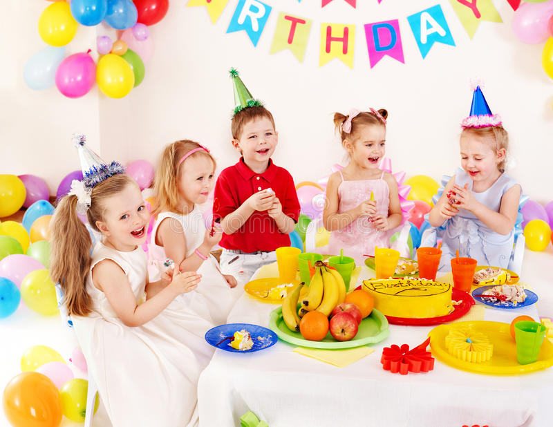 Child birthday party . Children happy birthday party stock photos