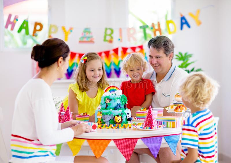 Child birthday party cake. Family with kids royalty free stock image