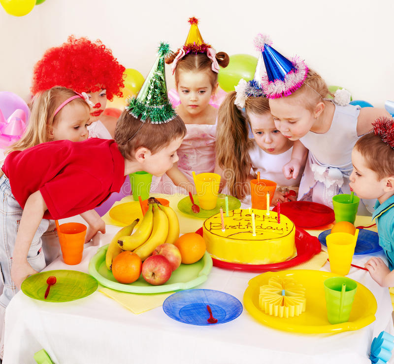 Child birthday party . Children happy birthday party royalty free stock image
