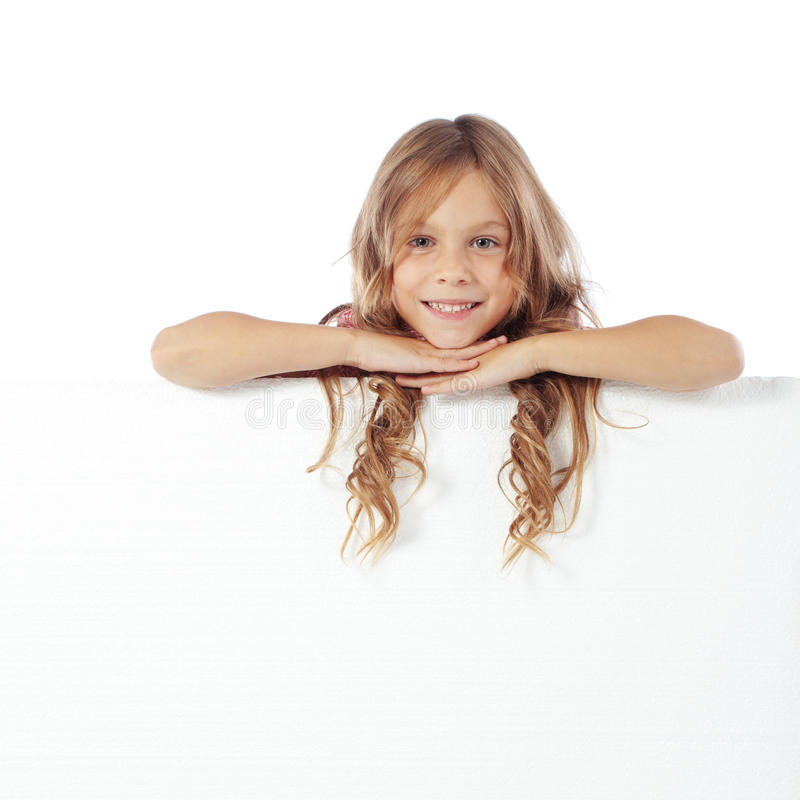 Child with blank board. Portrait of a child girl with blank board for custom text stock photos