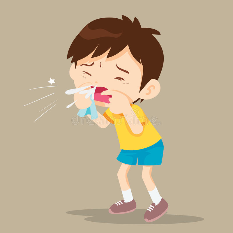 Child blow the nose royalty free illustration