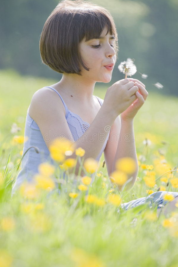 Free Child Blowing Dandelion2973 Royalty Free Stock Photos - 5208738