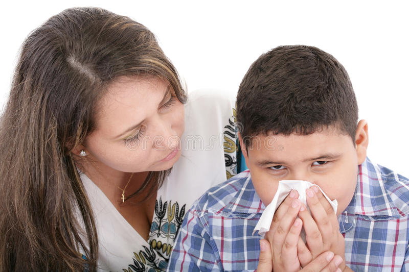 Download Child blowing nose stock photo. Image of sniffing, catarrh - 27034618