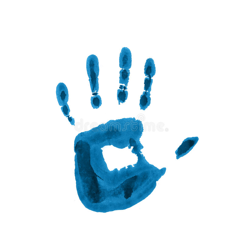 Child blue handprint royalty free stock photos