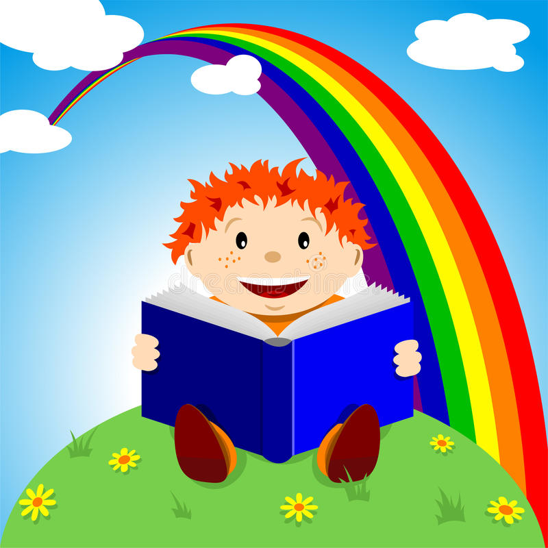 Child with book royalty free illustration