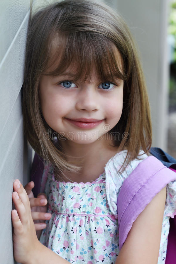 Download Child with Book Bag stock photo. Image of home, outdoors - 20236560