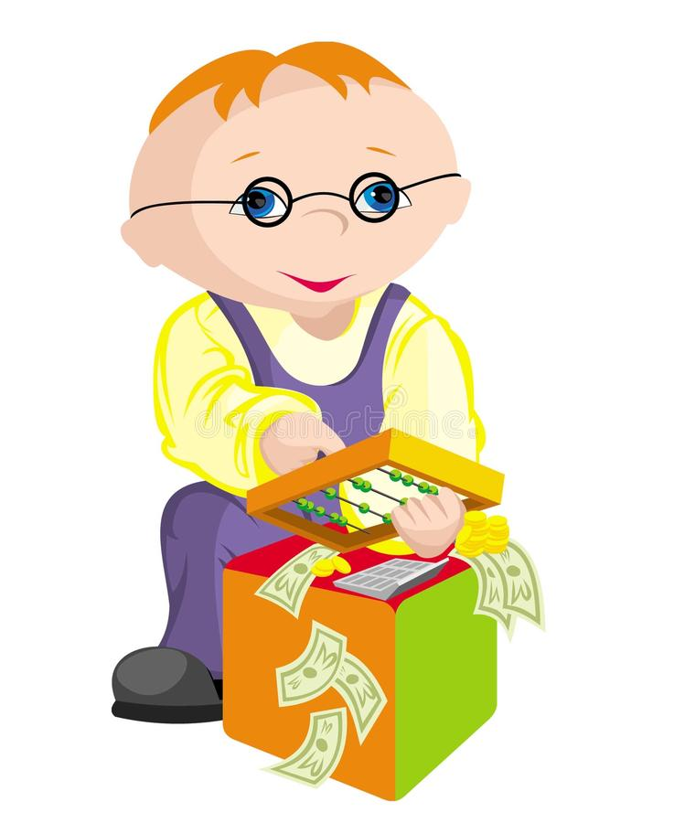 The child - bookkeeper stock photo