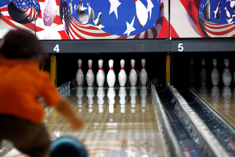 Child bowling royalty free stock image
