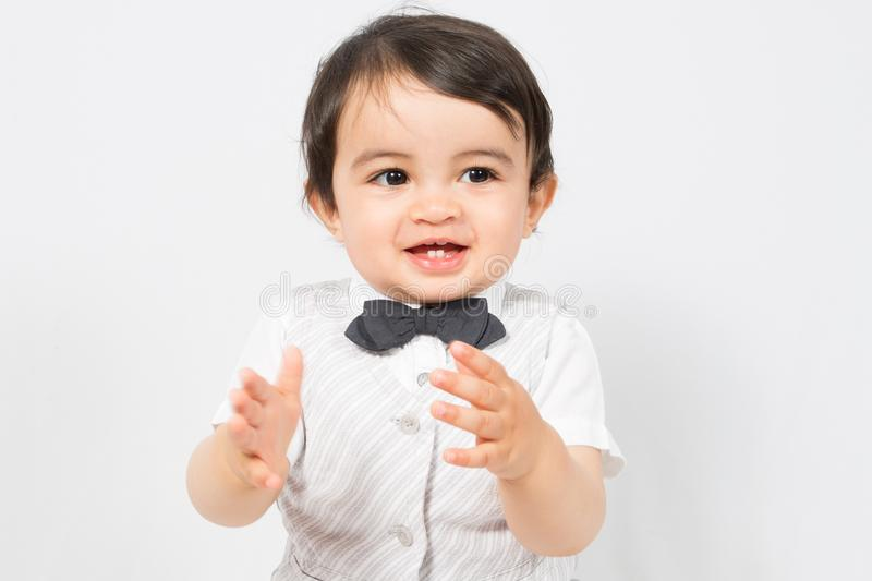 Child boy applaud and acclaim happy. Whoop stock photo