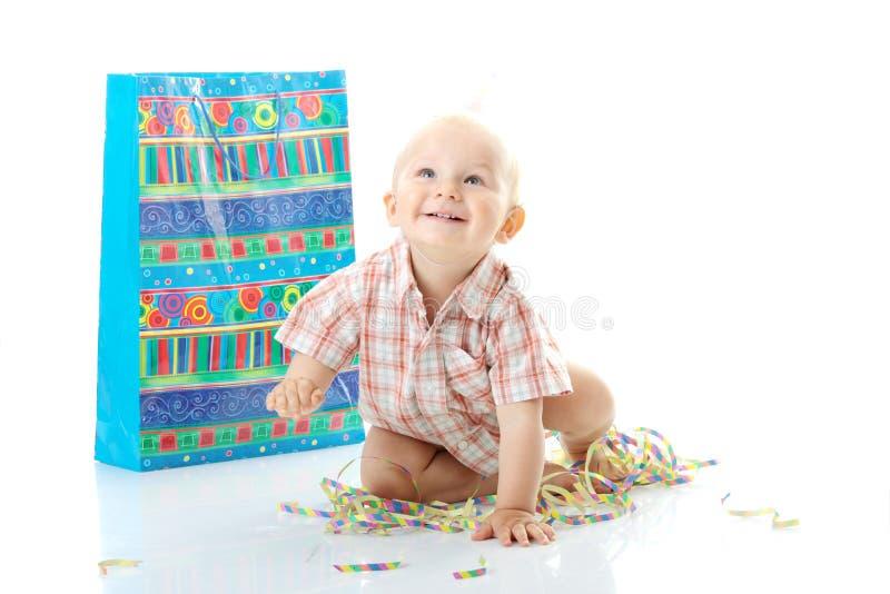 Child boy birthday. Child boy in birthday hat over white royalty free stock image