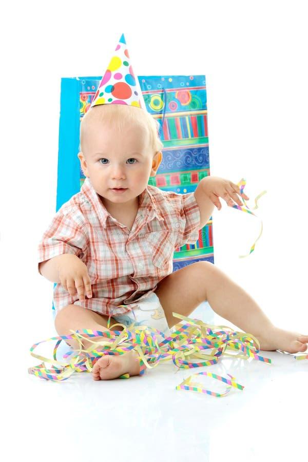 Child boy birthday. Child boy in birthday hat over white royalty free stock images