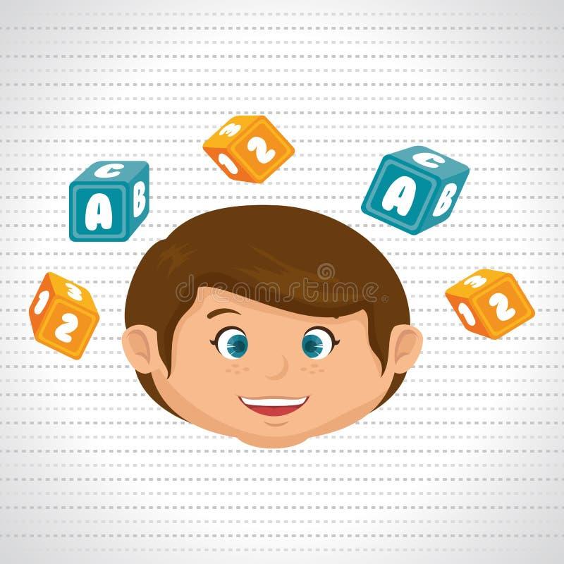 Child boy cartoon cubes alphabet letters. Illustration eps 10 vector illustration