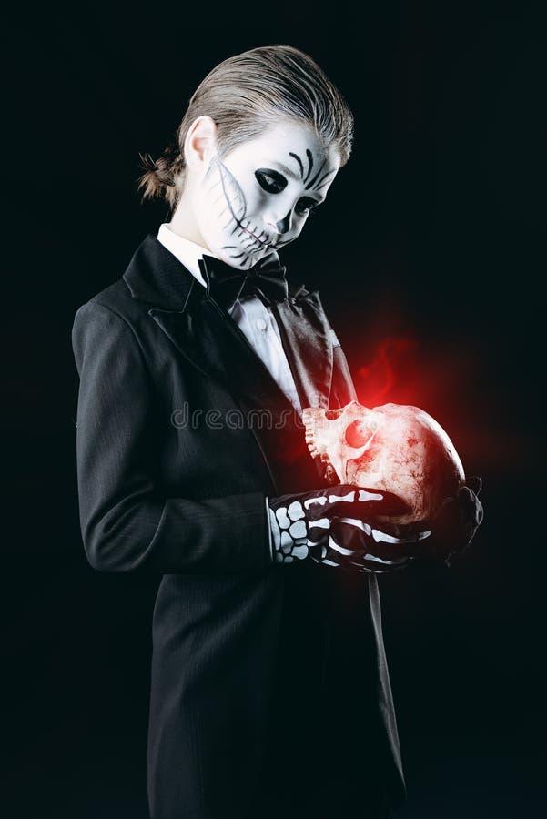 Child boy at halloween stock photo