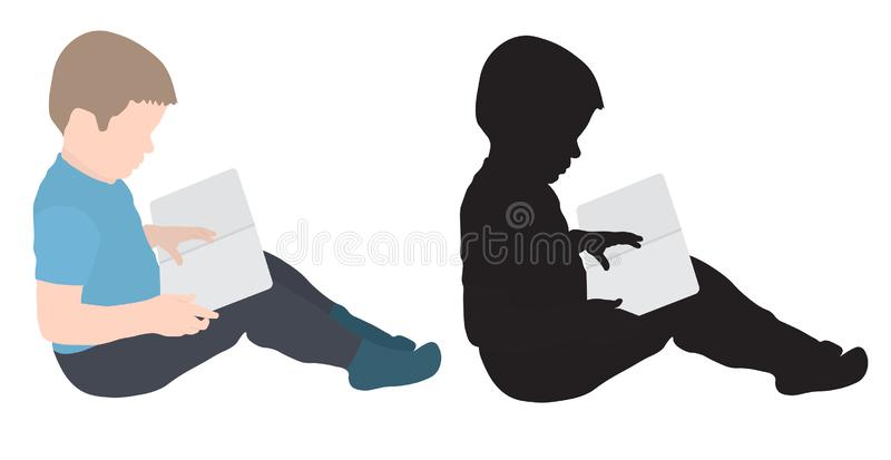 Child boy is reading book, colorful and silhouette, vector illustration.  stock illustration
