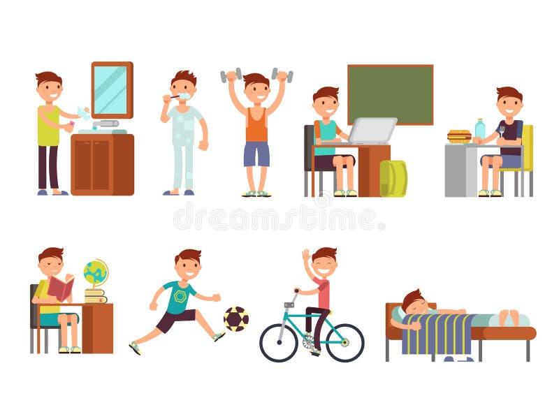 Child boy daily routine vector set. Routine school boy, illustration of daily sleeping everyday royalty free illustration