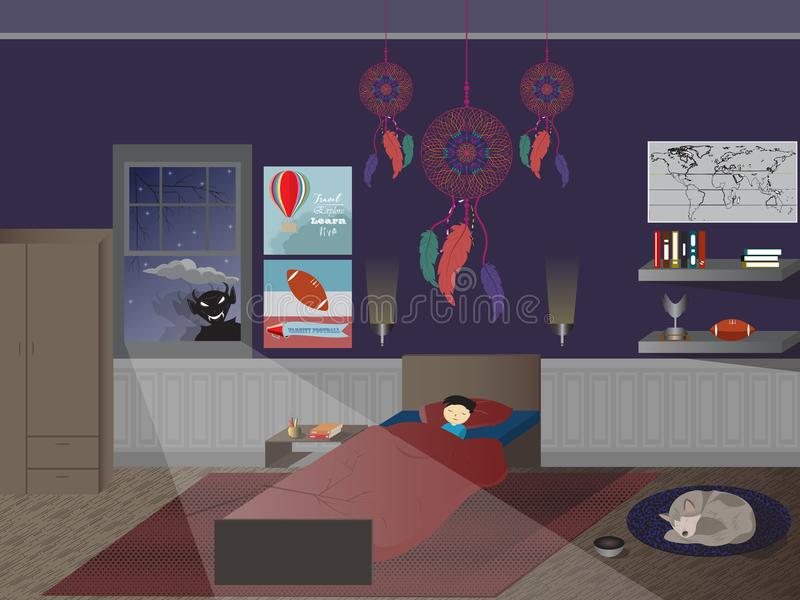 Child boy sleeping bedroom dreamcatcher monster window dog floor. Young child sleeping and tucked into a large bed. Monster in the window. Dreamcatcher hanging vector illustration