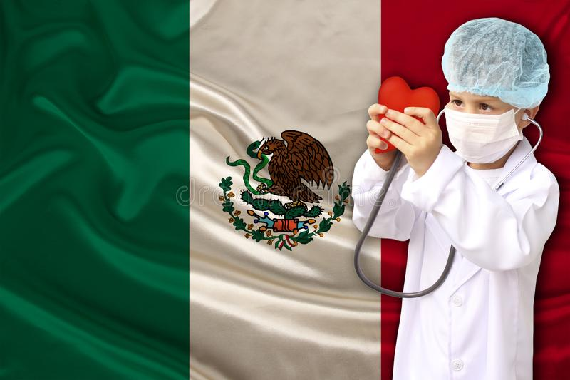 Photo of the beautiful colored national flag of mexico state on a textured fabric, concept of tourism, economics and politics, royalty free stock images