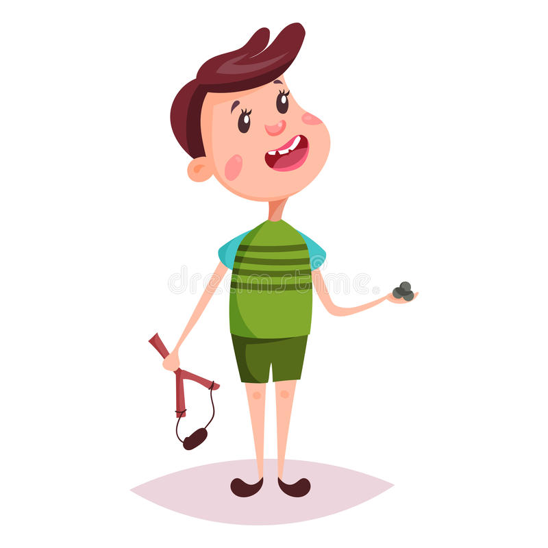 Child or boy, young man with slingshot. Young kid or little child, schoolboy or boy playing with slingshot or sling, catapult with shells, knife-rest. Standing royalty free illustration