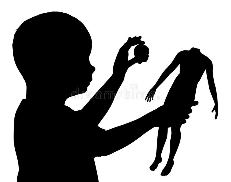 Child Breaking Doll stock image