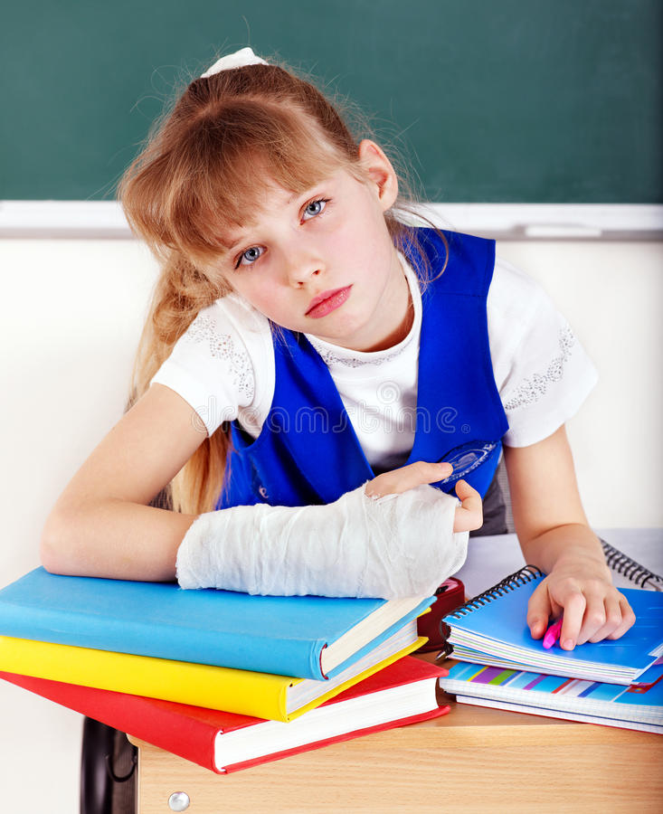 Child with broken arm. royalty free stock photography