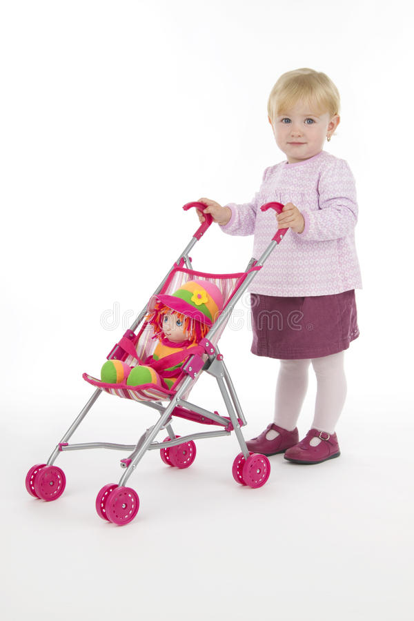 Download Child with buggy stock image. Image of doll, baby, life - 16103213