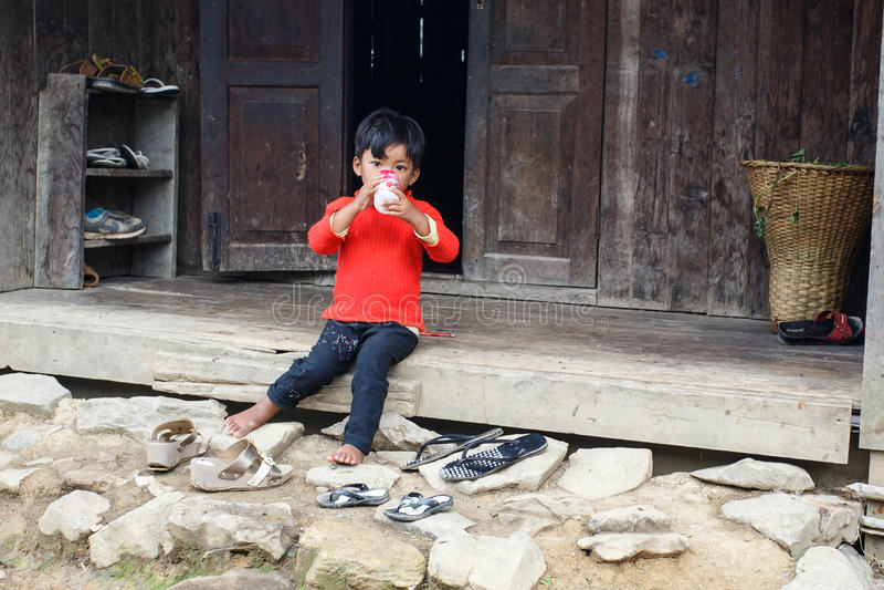 Child in Burmese Village royalty free stock image