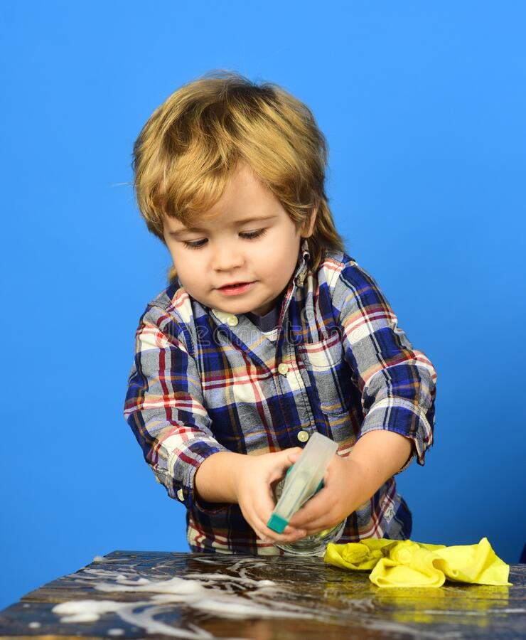 Boy, Child Busy In Protective Helmet Makes By Hand ...