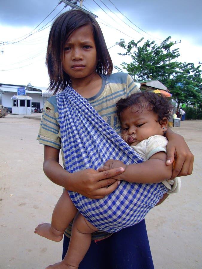 Child on Cambodian Thai border. stock image