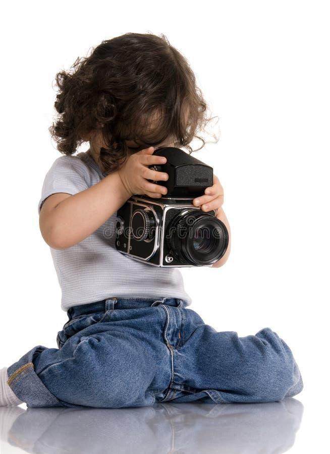 Child with camera stock photos
