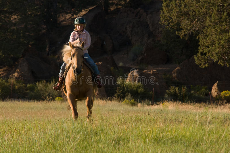 Download Child Cantering On Palomino Stock Photography - Image: 21480032