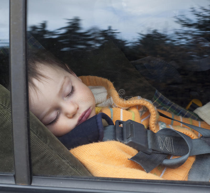 Child in car seat. A small boy sleeping in a car seat; photo taken from the outside of the car with tree reflecting on the glass stock image