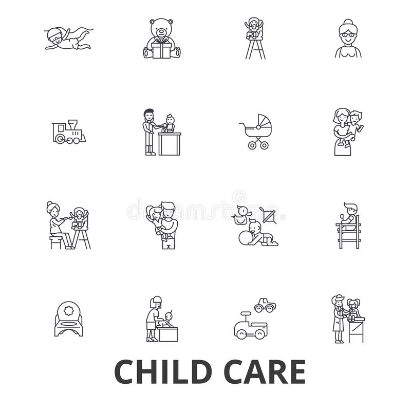 Child care, babysitter, preschool, nanny, nursery, kids playing, daycare center line icons. Editable strokes. Flat stock illustration