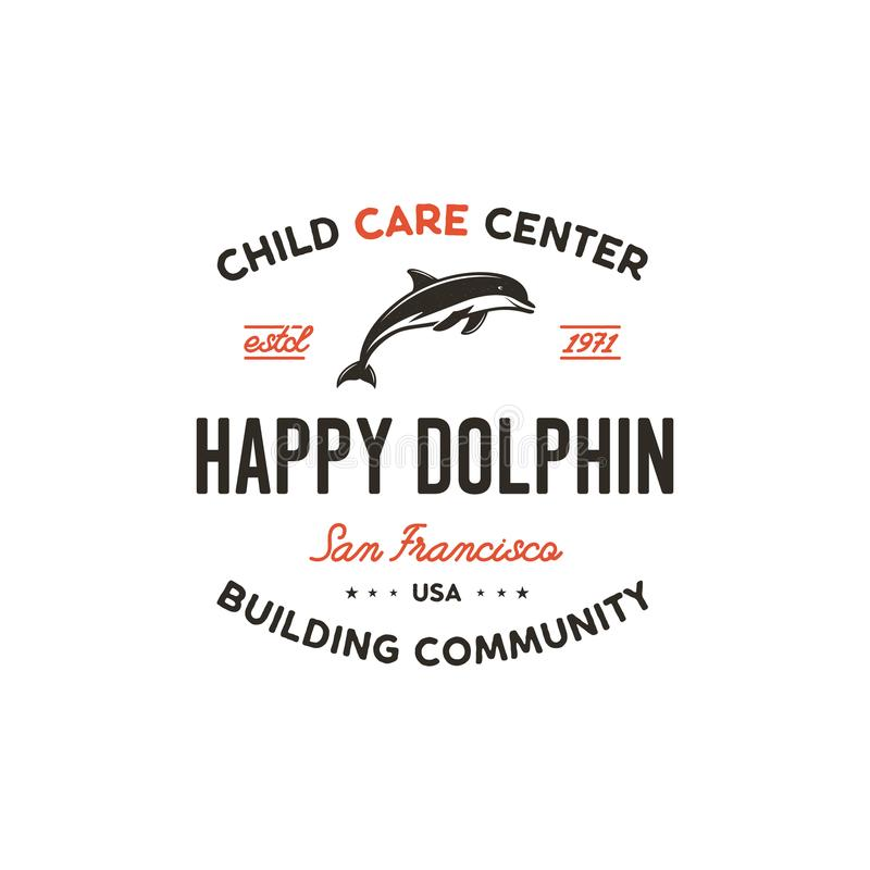 Child care center emblem. Dolphin symbol, icon and typography design badge. Happy dolphin sign. Stock vector logo. Template isolated on white background royalty free illustration