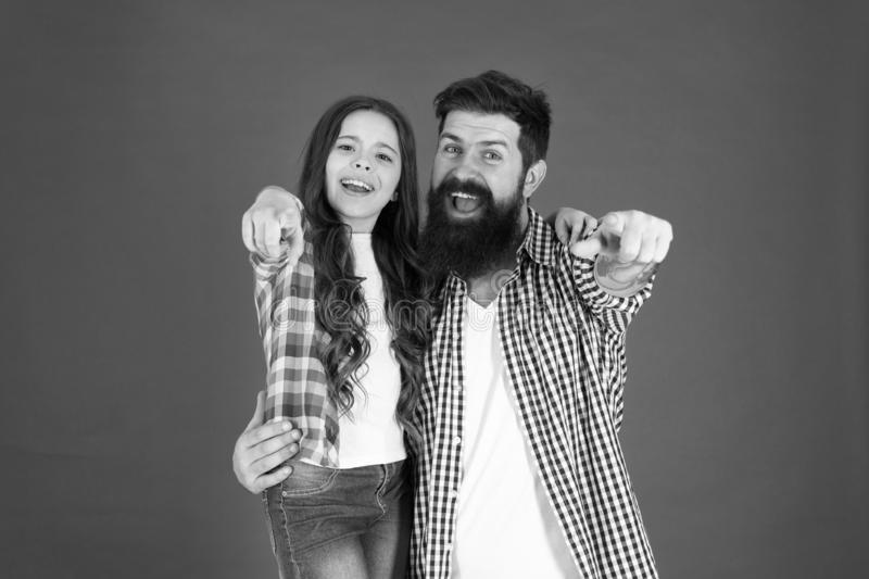 Child care and parenting. Father and child. Little girl love father. Happy family. happy parenting. Bearded man father royalty free stock images