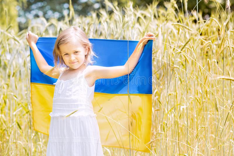 Child carries fluttering blue and yellow flag of Ukraine in wheat field. Ukraine& x27;s Independence Day. Flag Day. Background, banner, celebration, childhood stock image