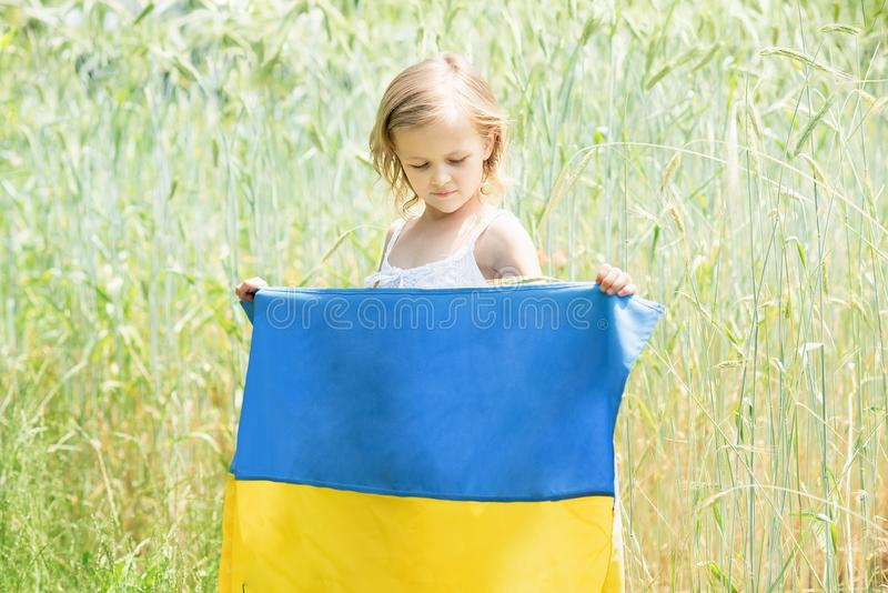 Child carries fluttering blue and yellow flag of Ukraine in wheat field. Ukraine& x27;s Independence Day. Flag Day. Background, banner, celebration, childhood royalty free stock photography