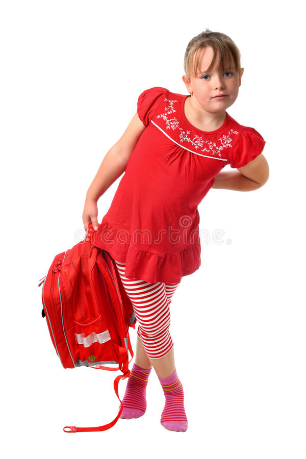 Download Child Carrying Heavy School Bag Isolated On White Stock Photo - Image: 16290828
