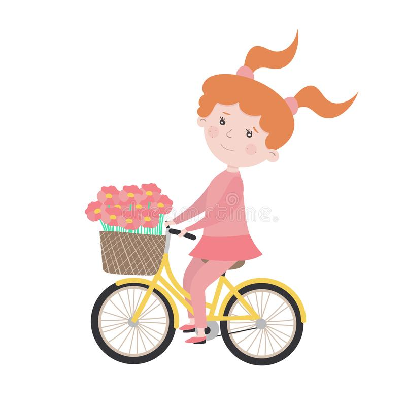 Child character girl rides a bicycle. Vector illustration stock illustration