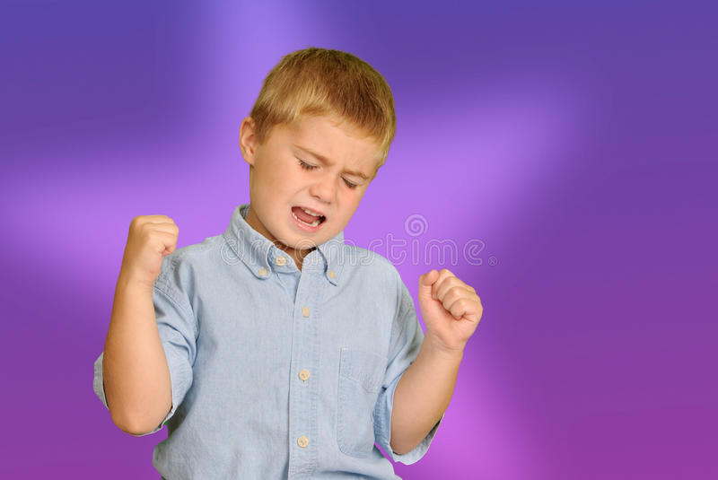 Child Cheering or Yawning. With arms up and eyes closed royalty free stock image