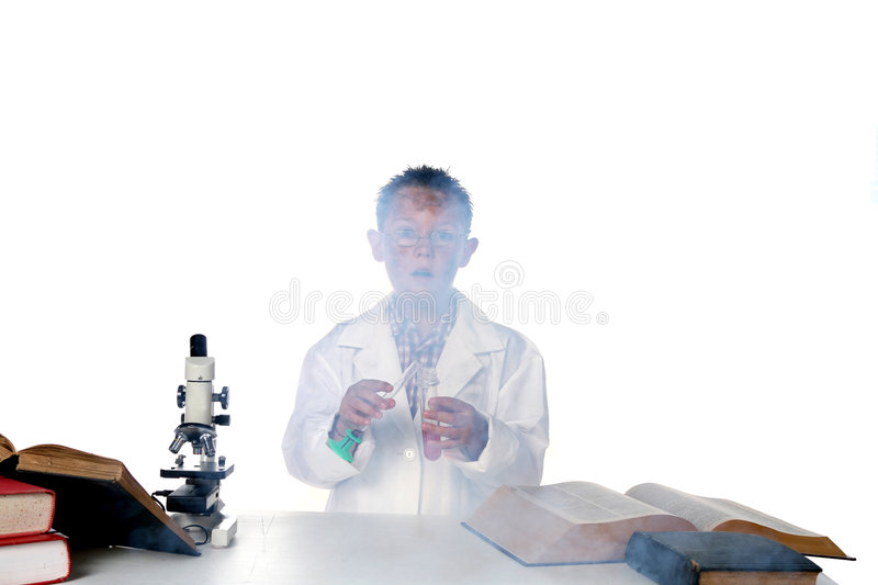 Download Child Chemist And An Explosion Stock Image - Image: 6402651
