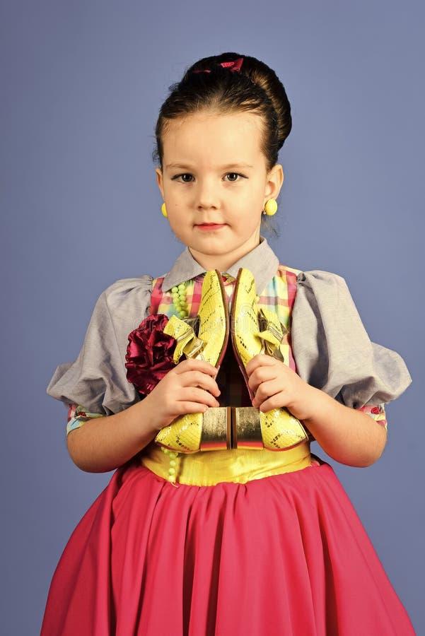 Child Childhood Children Happiness Concept. hairdresser and barbershop. hairdresser, long hair of little girl stock image