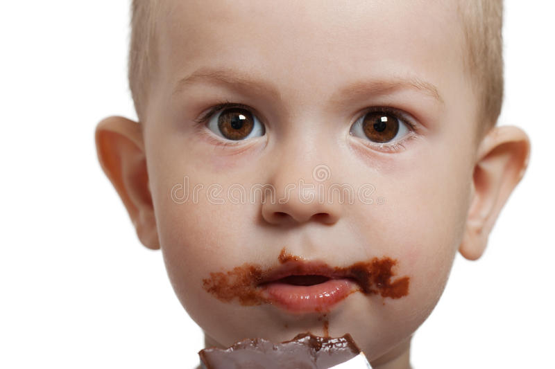 Download Child with chocolate stock image. Image of color, cute - 14429773